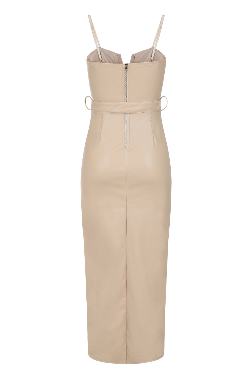 High Standards Nude Leather Belted Split Maxi Dress