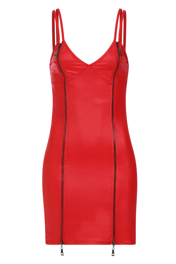 Unzip Me Red Leather Look Double Zip Slit Mini Dress