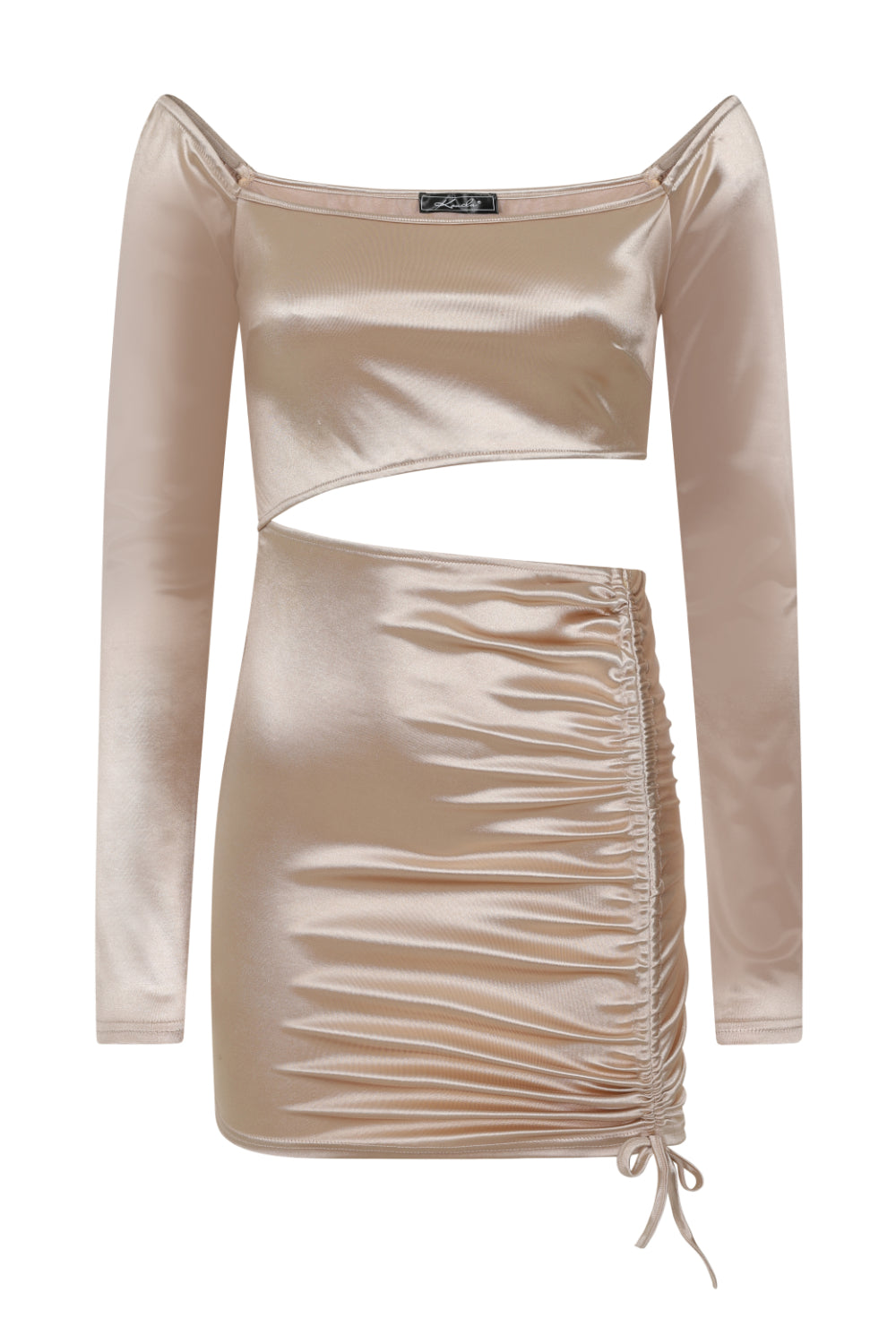 Cut It Out Champagne Slinky Satin Cut Out Ruched Mini Dress