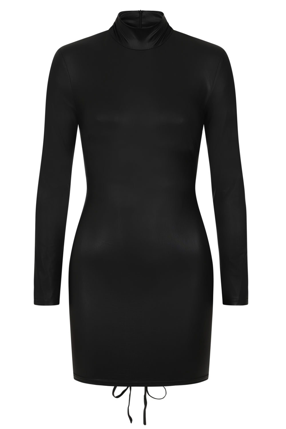 Party In The Back Black Wet Look Long Sleeve Ruched Dress