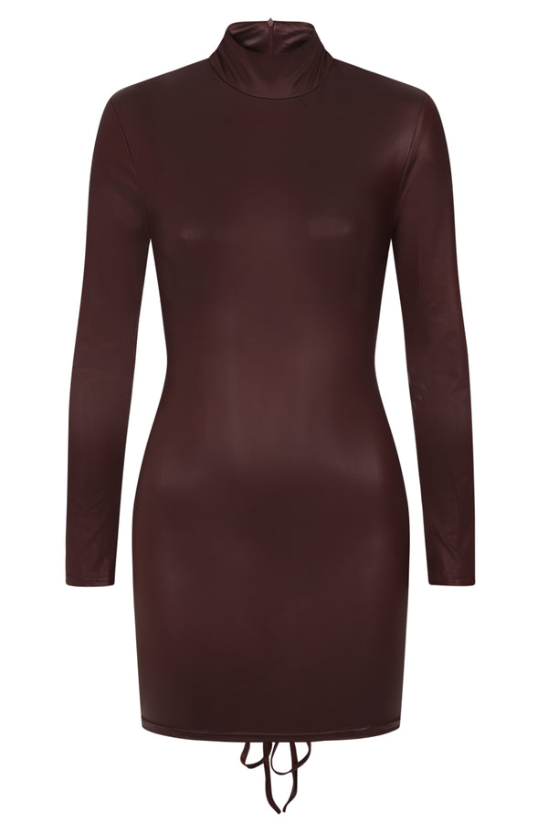 Party In The Back Bordeaux Wine Wet Look Long Sleeve Ruched Dress