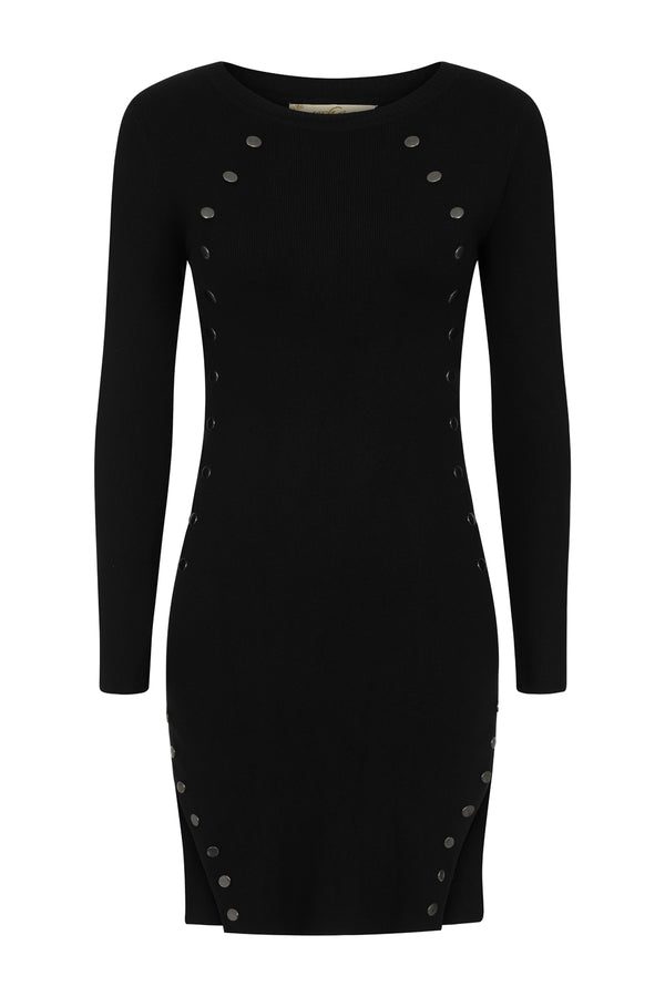 Celina Black Button Ribbed Knitted Long Sleeve Double Slit Mini Dress