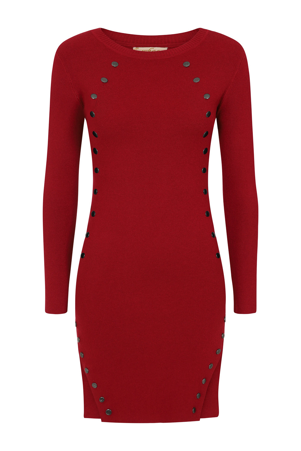 Sasha Red Button Ribbed Knitted Long Sleeve Double Slit Mini Dress