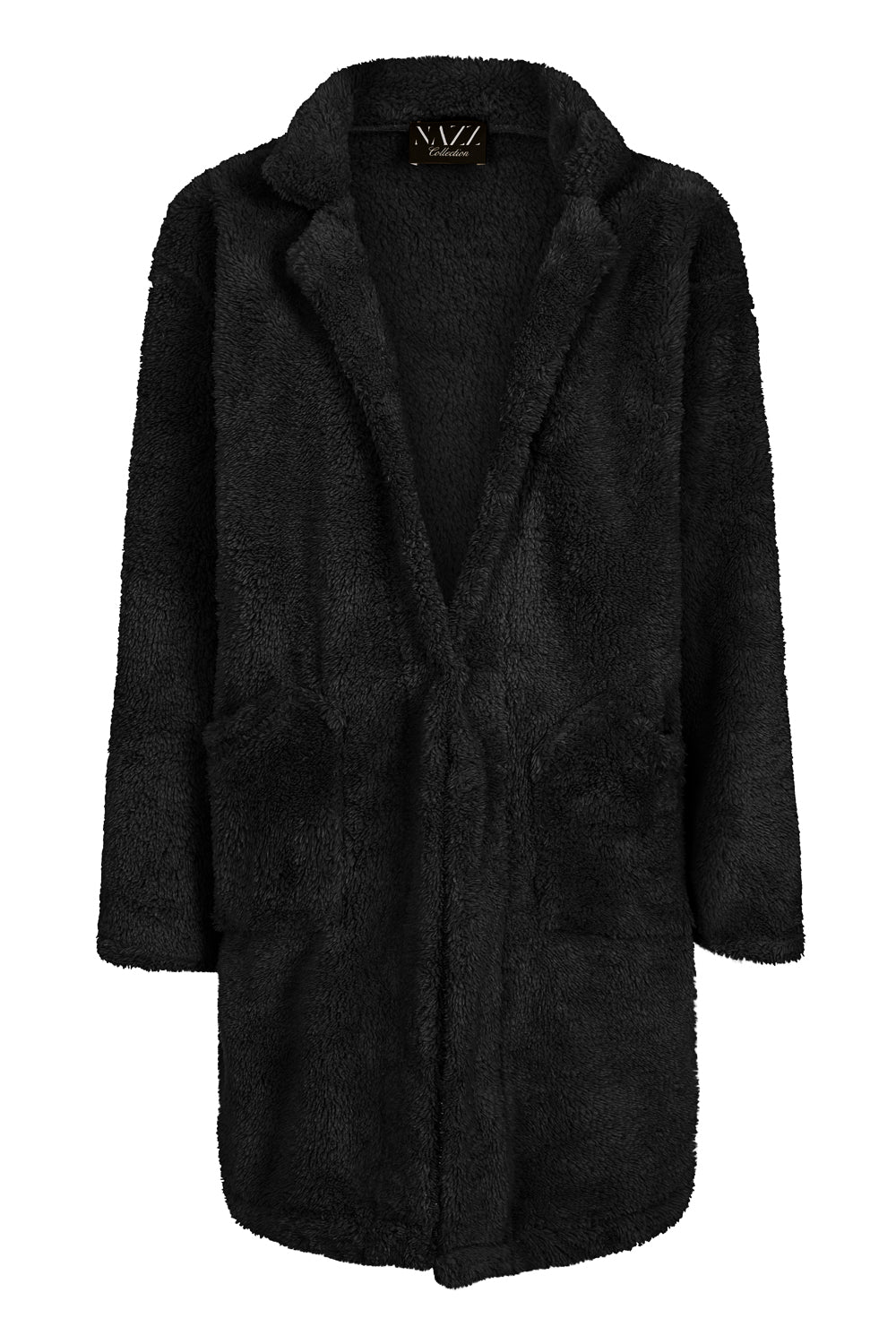 Neema Black Teddy Plush Fleece Cardigan Jacket