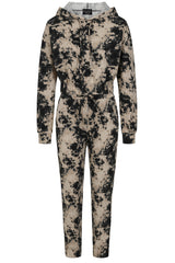 Haven Black and Beige Two Tone Tie Dye 2 Piece Tracksuit Set