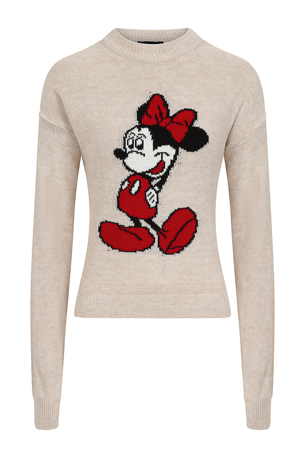 Minnie Mouse Beige Knit Woven Cartoon Lounge Set