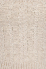Carmela Beige Woven Cable Knit 3 Piece Lounge Set
