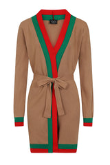 Zara Camel Tan Red and Green Striped Fine Knit 3 Piece Lounge Co-ord Set