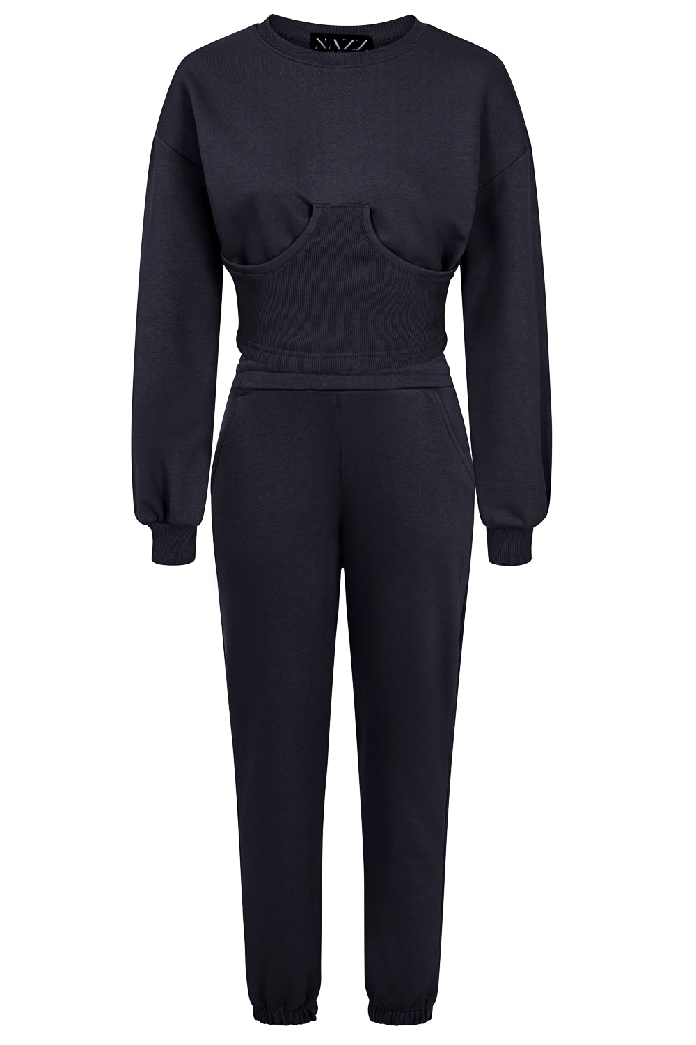 Sasha Navy Blue Under Bra Waisted Hoodie Tracksuit Set