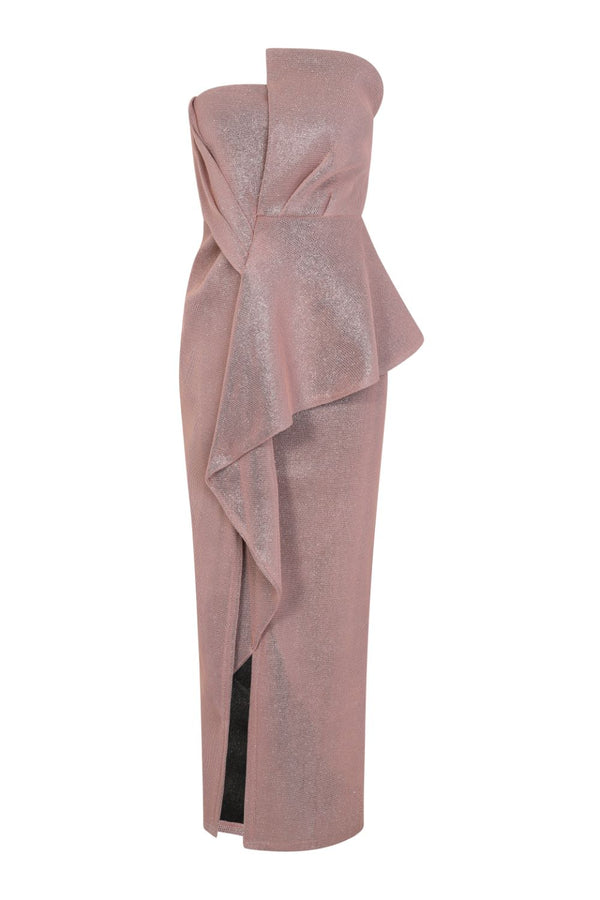 Cosmia Blush Glitter Sparkle Bandeau Pleated Detail Pencil Maxi Dress