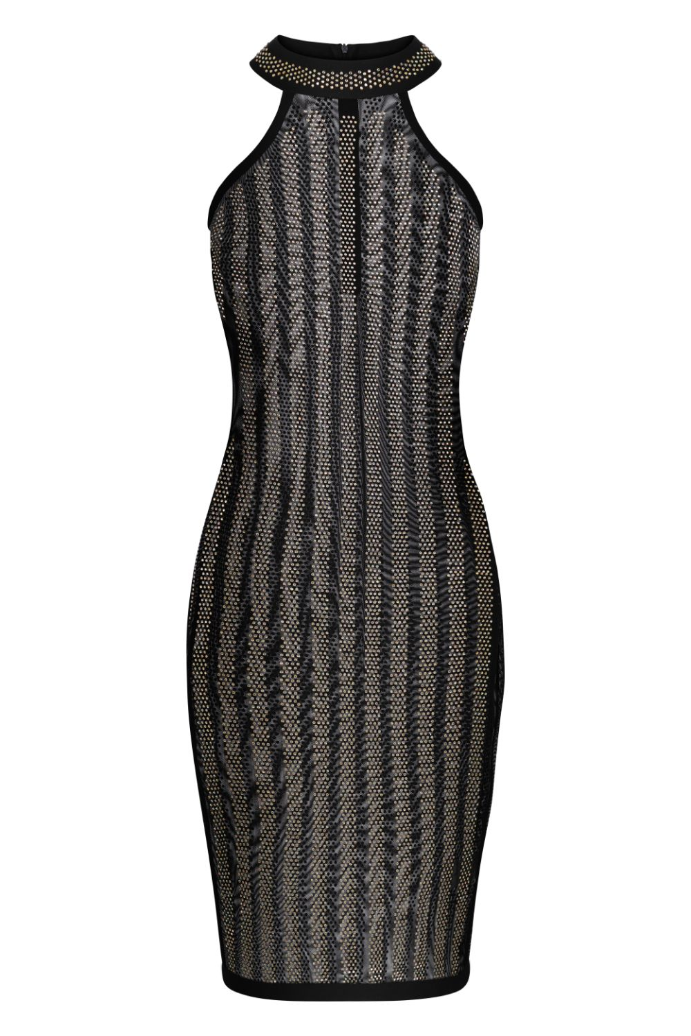 Xtra Black Crystal Iridescent Rhinestone Sheer Mesh Midi Bodycon Dress