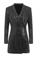 Tempt Me Silver Black Metallic Tuxedo V Neck Blazer Tux Dress