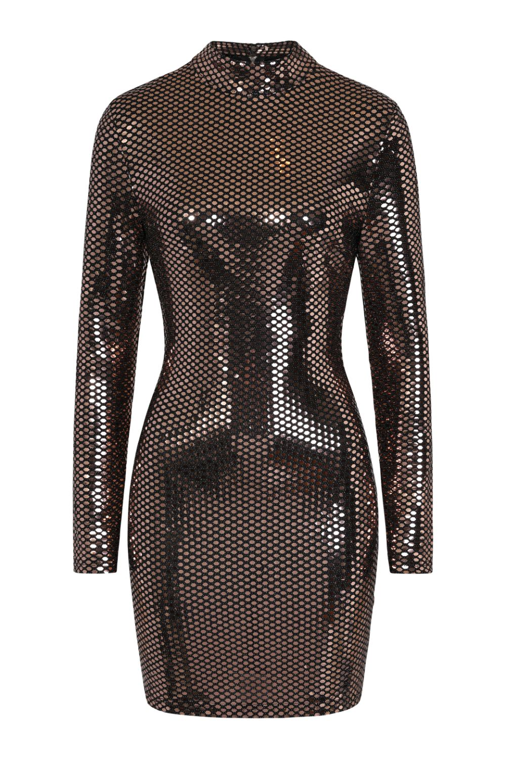 Hypnotised Bronze Metallic Mirrored Sequin Bodycon Dress