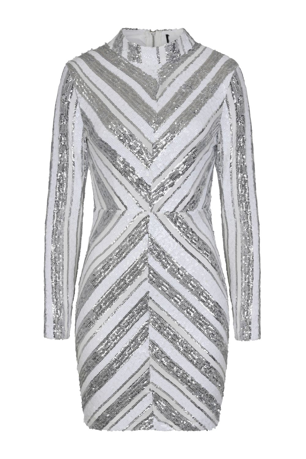 Turn Up White Silver Striped Sequin Bodycon Dress