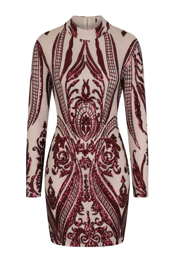Vixen Red Nude Tribal Illusion Sequin Bodycon Dress