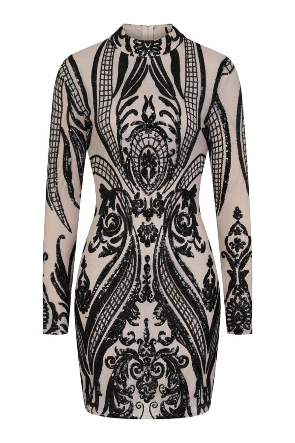 Vixen Black Nude Tribal Illusion Sequin Bodycon Dress