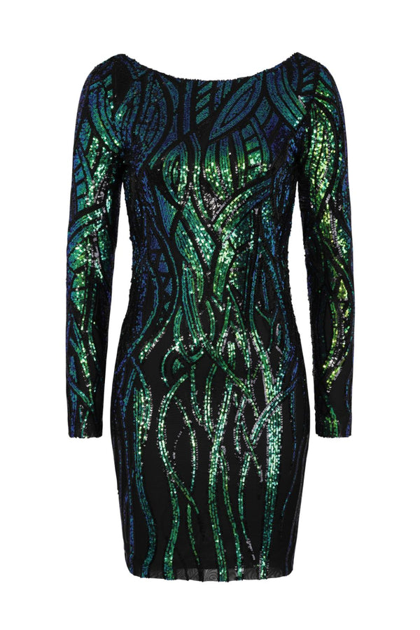 Fortune Black Green Luxe Illusion Sequin Long Sleeve Open Back Midi Dress