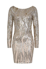 Fortune Silver Gold Luxe Illusion Sequin Long Sleeve Open Back Midi Dress