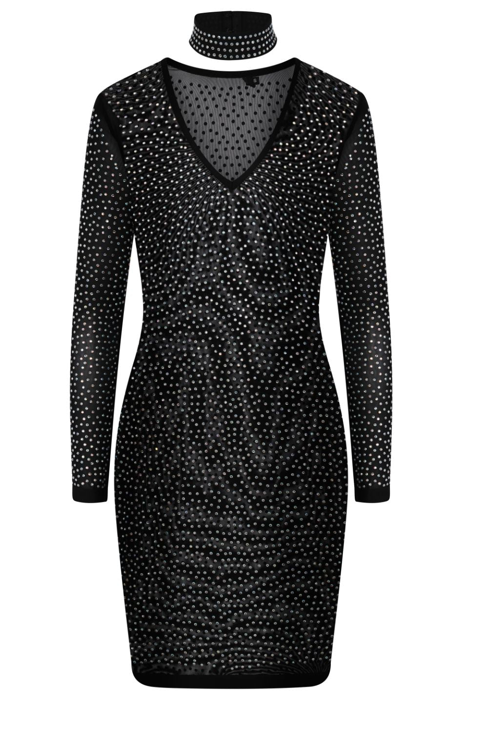 Show Up Black Crystal Rhinestone Sheer Mesh Choker Bodycon Dress