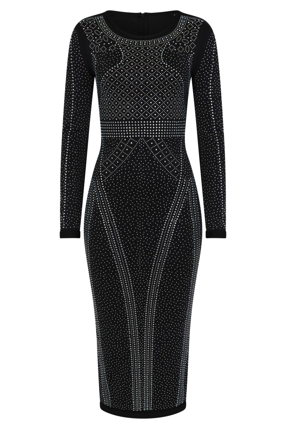 Luxor Black Caviar Crystal Rhinestone Bodycon Midi Dress