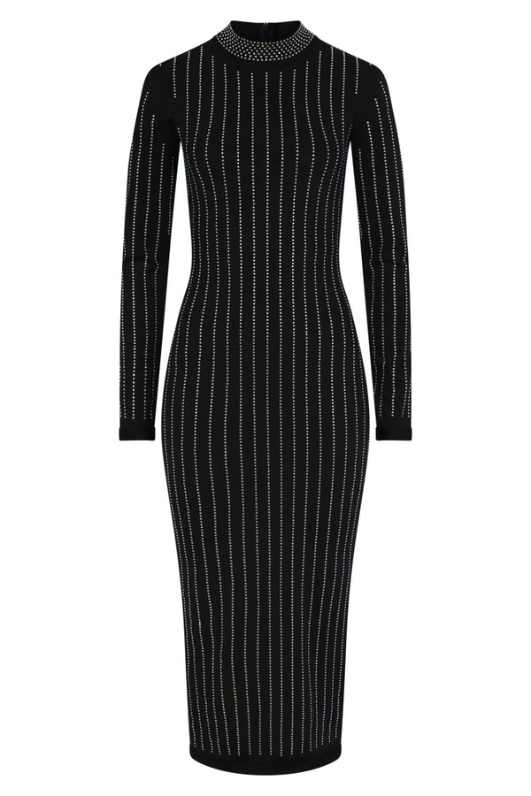 Drama Black Crystal Rhinestone Mock Neck Bodycon Midi Dress