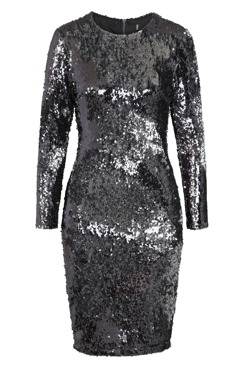 Starlight Chrome Silver Luxe Reversible Sequin Long Sleeve Midi Dress