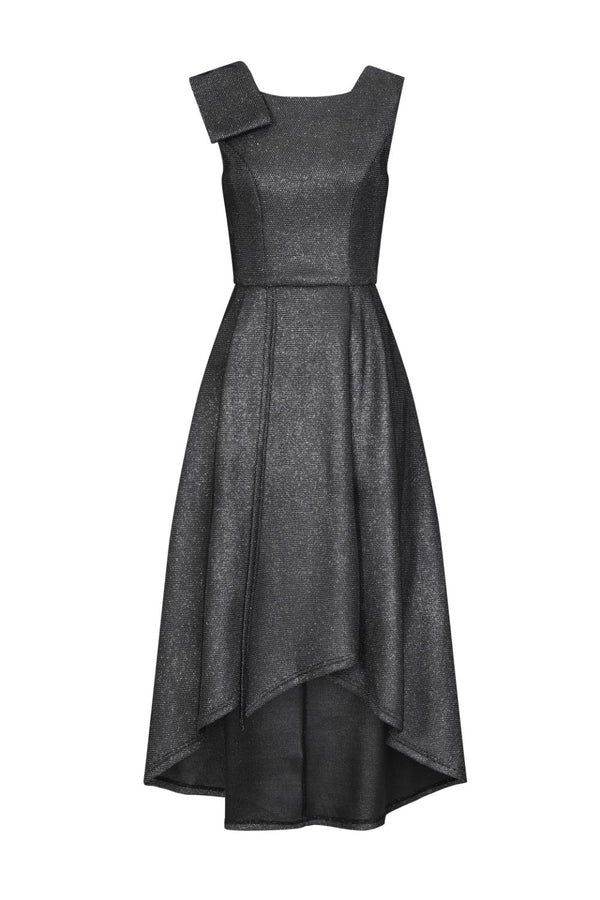 Riviera Black Glitter Sparkle Asymmetric Dip Hem Dress