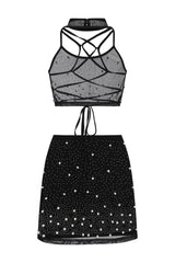 Caution Vip Black Rhinestone & Pearls Two Piece Skirt Top Co Ord Set