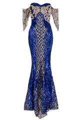 Royalty Vip Blue Gold Sequin & Embroidery Bardot Fishtail Mermaid Dress