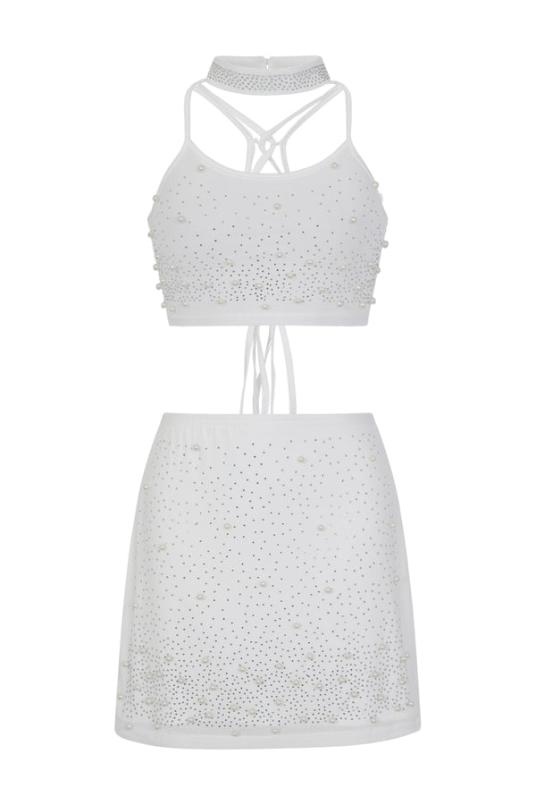 Caution Vip White Rhinestone & Pearls Two Piece Skirt Top Co Ord Set