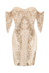 Rumour Vip Nude Gold Sweetheart Bardot Sequin Mini Bodycon Dress