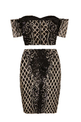 Baddie Vip Black Gold Sequin & Embroidery Two Piece Skirt Top Co Ord Set