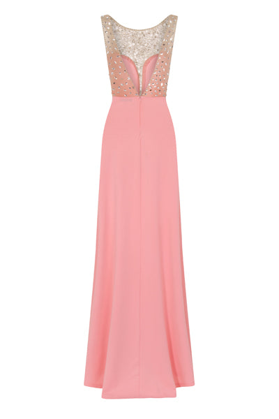 Seska Blush Crystal Plunge Thigh Split Fishtail Maxi Dress