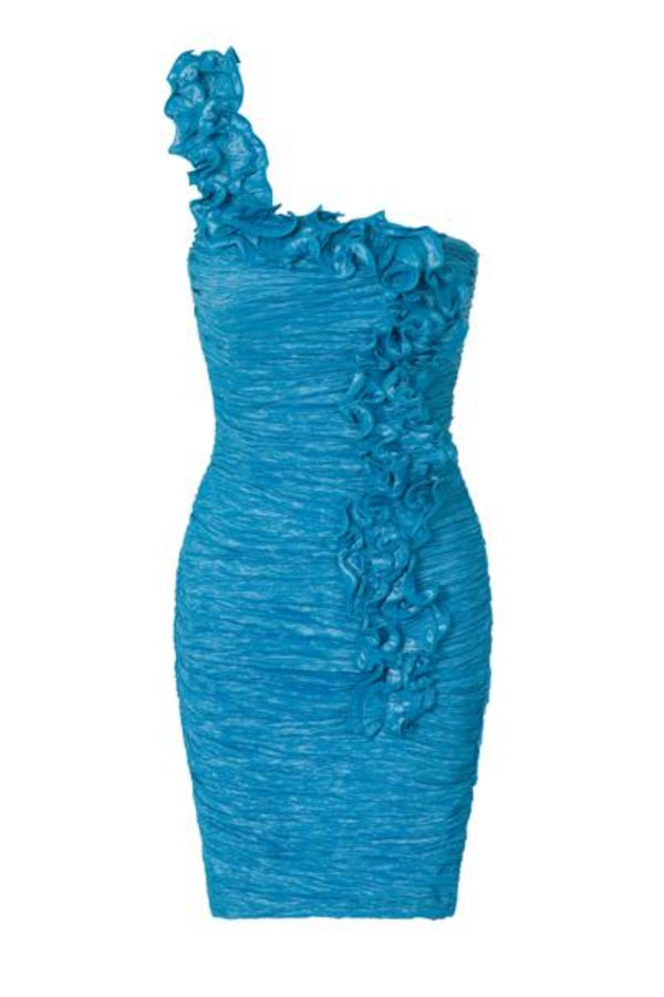 Natalie Blue Ruffle One Shoulder Bodycon Dress