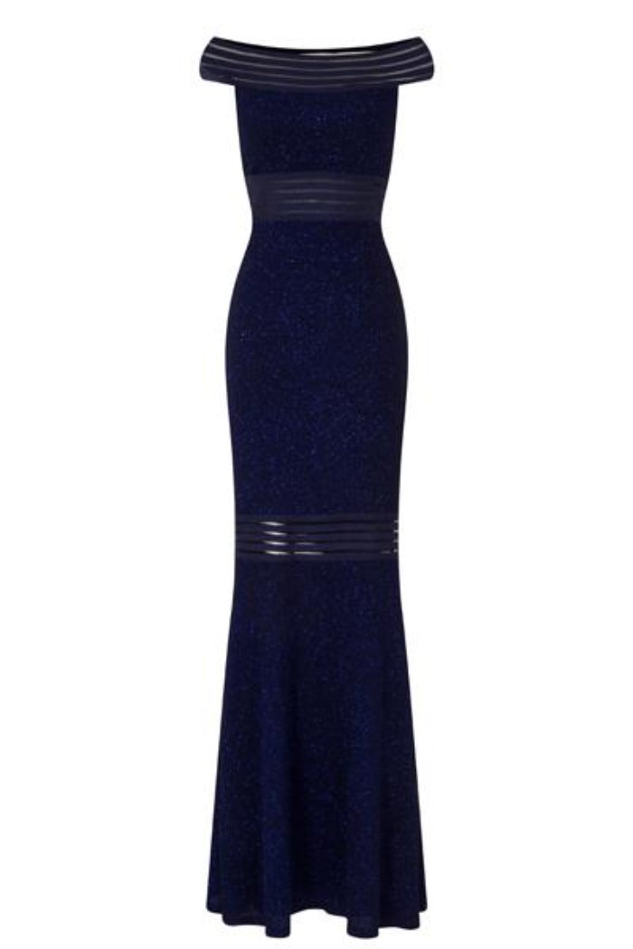 Jada Midnight Blue Glittered Sheer Panel Bardot Fishtail Maxi Dress