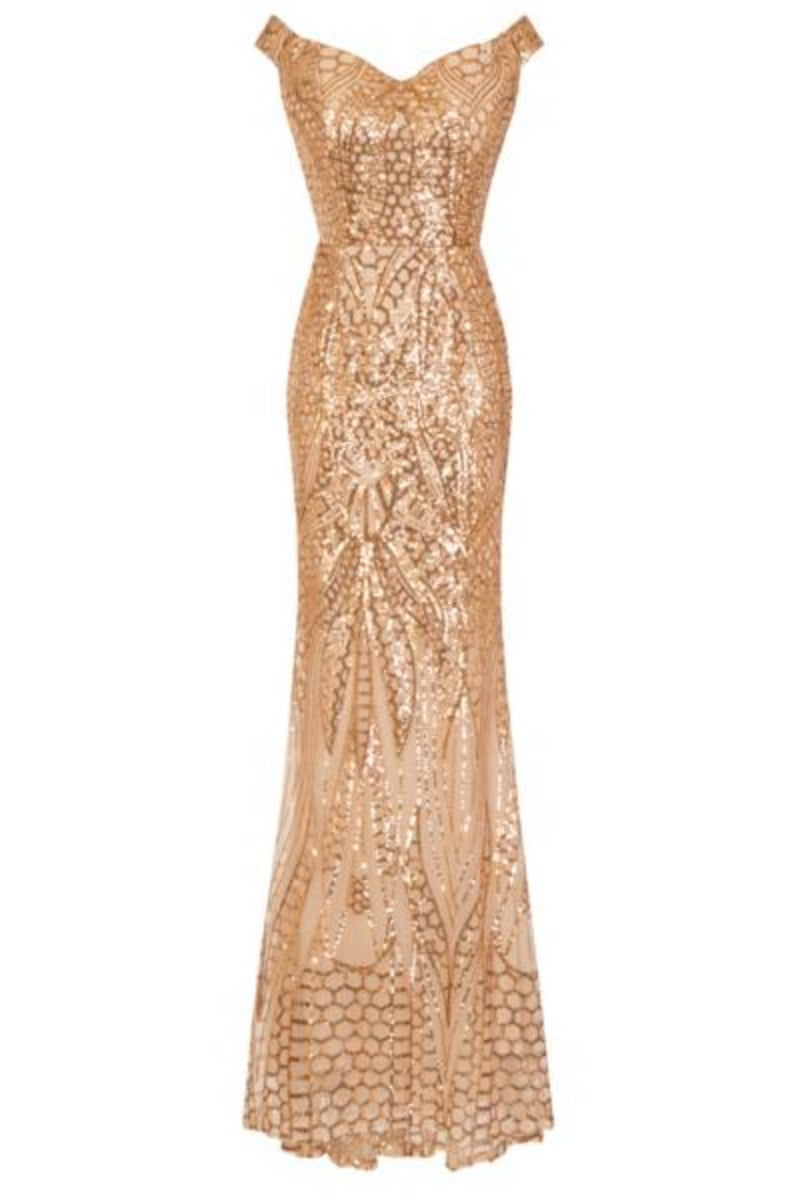 Royal Gold Luxe Sweetheart Sequin Off The Shoulder Mermaid Dress