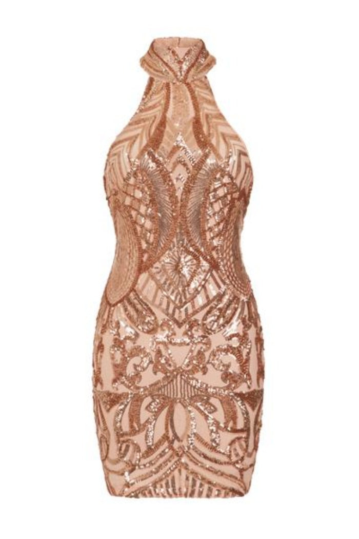 Fate Rose Gold Vip Luxe Illusion Sequin Embellished Mini Bodycon Dress