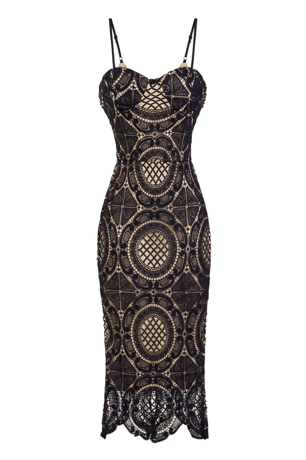 Casey Navy & Nude Bustier Crochet Bodycon Midi Dress