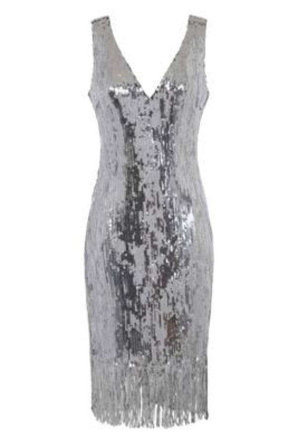Own It Silver Mirror Sequin Tassel Fringe Hem Midi Dress