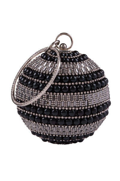 Viva Black Crystal Diamante Pearl Wristlet Sphere Clutch Bag