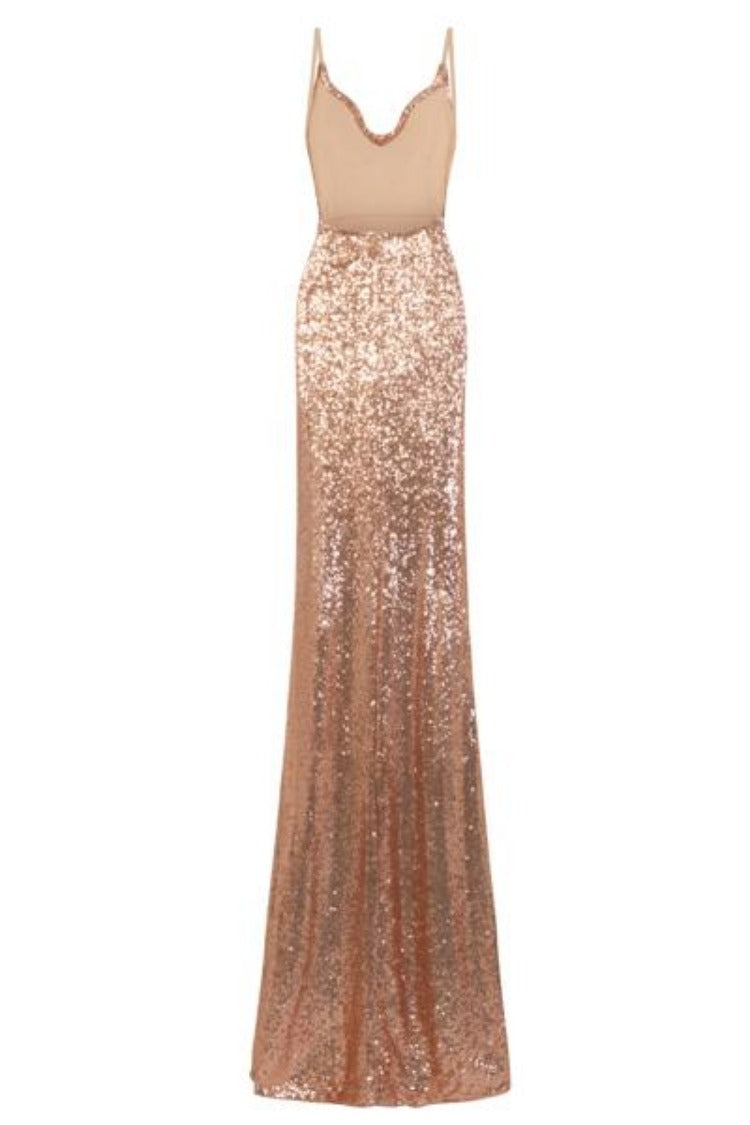 Saint Rose Gold Cowl Plunge Sequin Slinky Side Slit Fishtail Dress