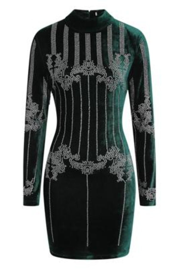 Crush Green Velvet Embellished Rhinestone Long Sleeve Bodycon Dress