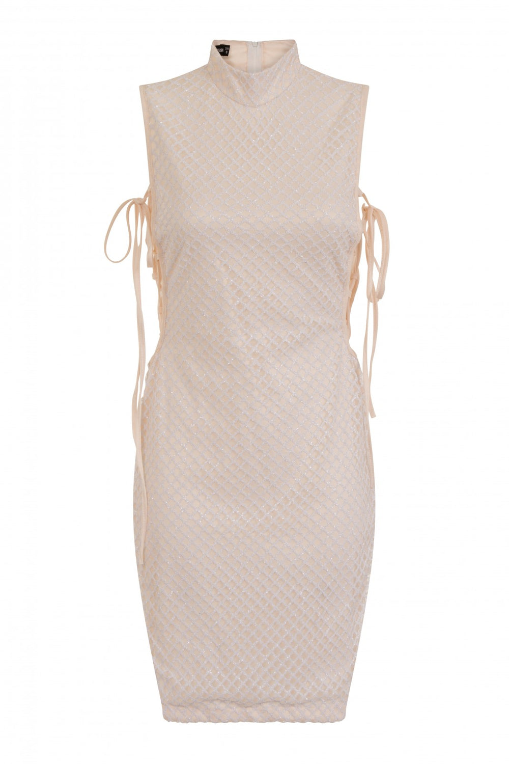 Rena White & Nude High Neck Tie Side Shimmer Sparkle Dress