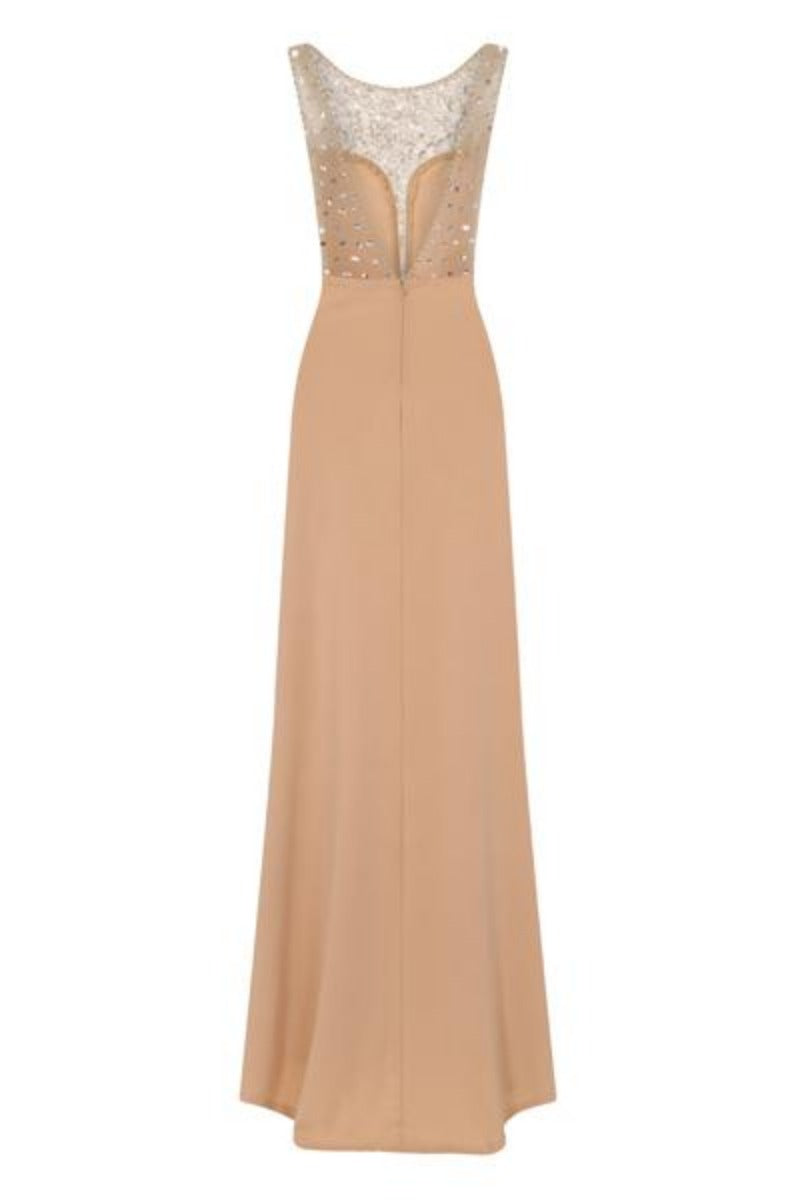Seska Nude Crystal Plunge Thigh Split Fishtail Maxi Dress