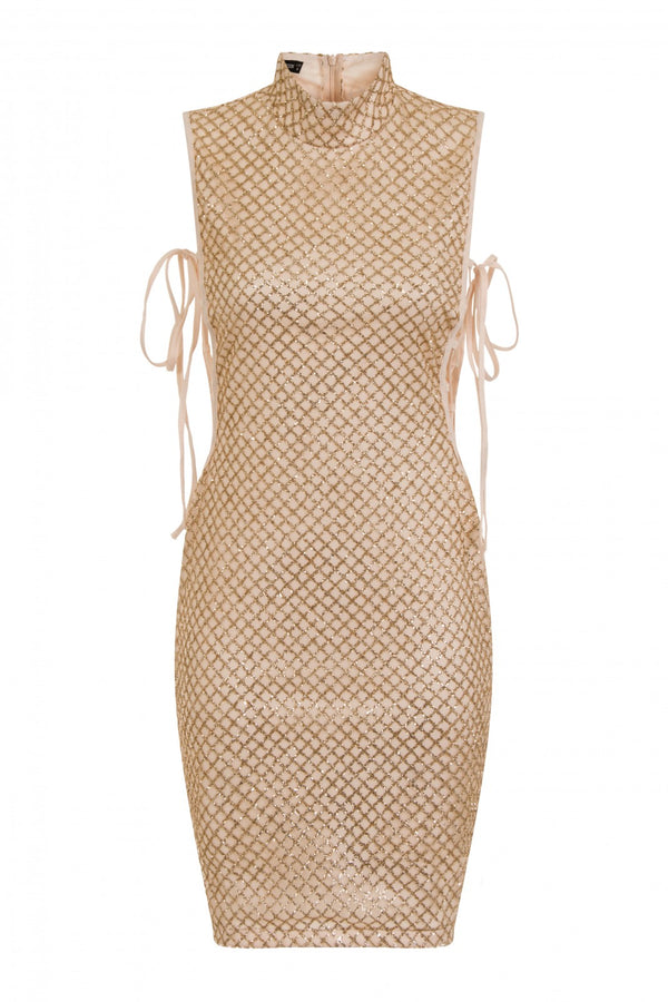 Rena Gold & Nude High Neck Tie Side Shimmer Sparkle Dress