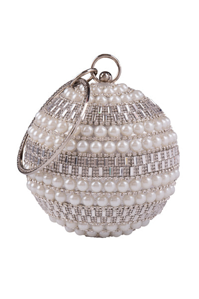 Viva Silver Crystal Diamante Pearl Wristlet Sphere Clutch Bag