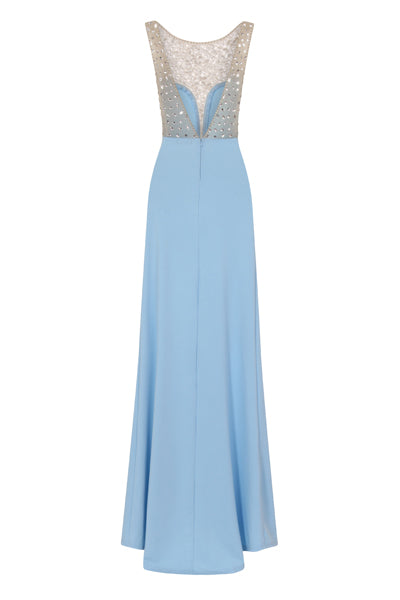 Seska Blue Crystal Plunge Thigh Split Fishtail Maxi Dress