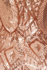 Envy Rose Gold Vip Luxe Illusion Sequin Embellished Fishtail Dress