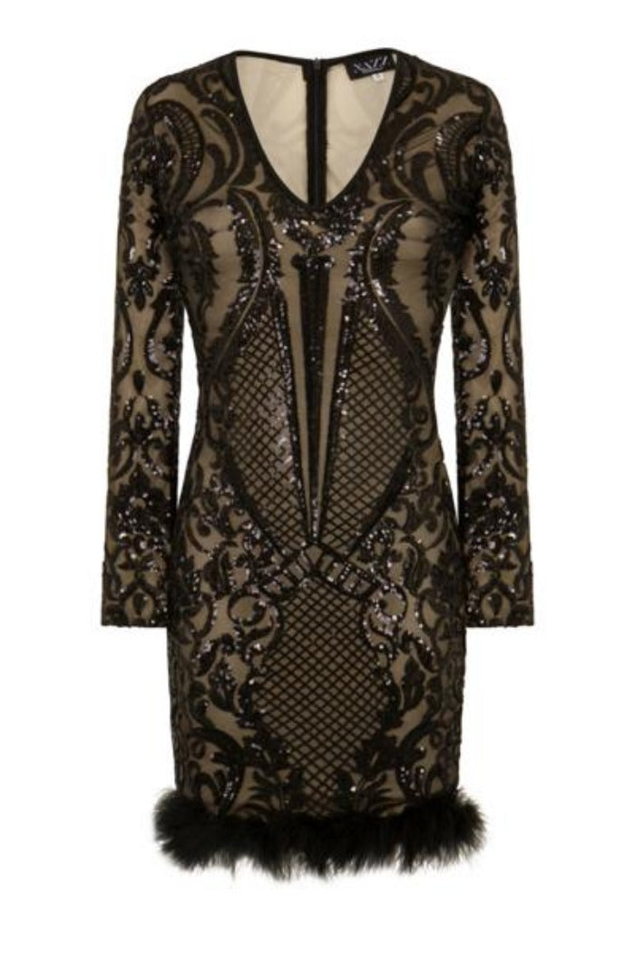Valentina Black Luxe Brocade Sequin Plunge Feather Dress