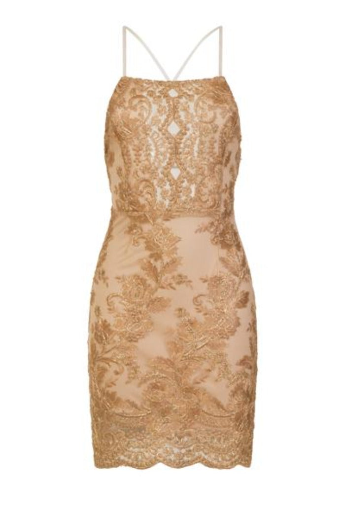Heidi Nude Keyhole Gold Floral Lace Embroidery Scallop Midi Dress